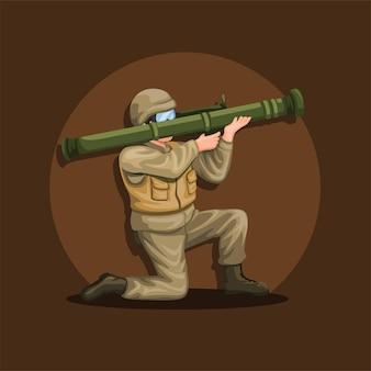 Soldado agachado segurando o lançador de foguetes anti-tanque