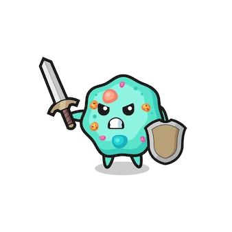 Soldado ameba fofo lutando com espada e escudo, design de estilo fofo para camiseta, adesivo, elemento de logotipo
