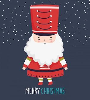 Soldado bonito do quebra-nozes bonito da celebração do natal com chapéu