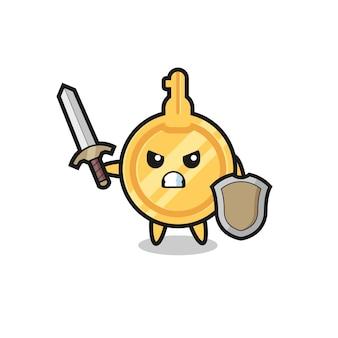 Soldado-chave fofo lutando com espada e escudo, design fofo