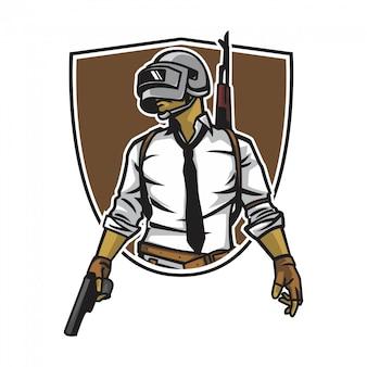 Soldado com arma de mão
