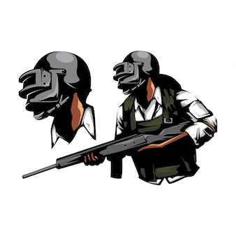 Soldado com arma de rifle