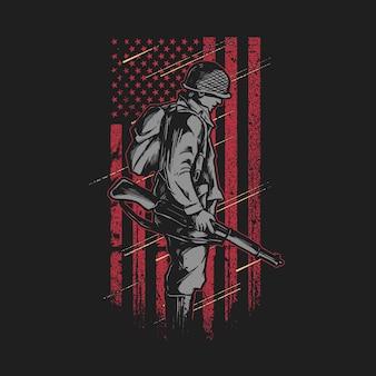 Soldado com gráfico de ilustração da bandeira americana do grunge