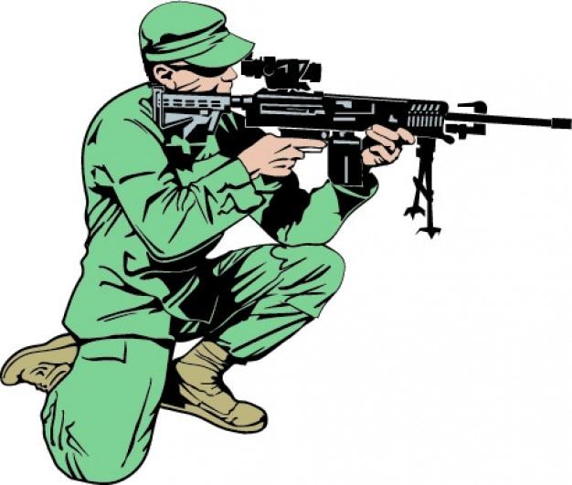 Soldado com o braço rifle