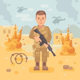 Soldado com um rifle na ilustração plana do campo de batalha. fundo de cena de guerra