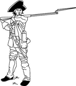 Soldado da guerra civil com o braço