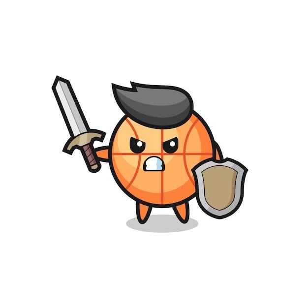 Soldado de basquete fofo lutando com espada e escudo, design de estilo fofo para camiseta, adesivo, elemento de logotipo
