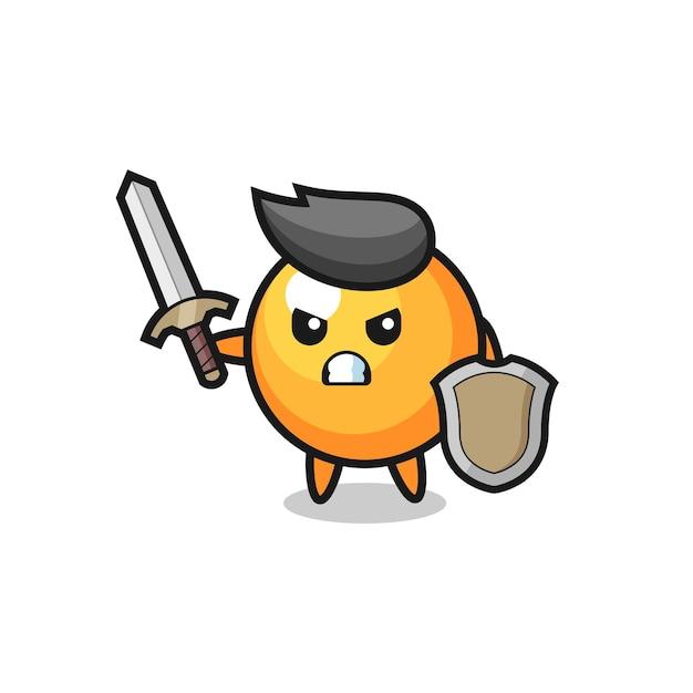 Soldado de bola de pingue-pongue fofo lutando com espada e escudo, design de estilo fofo para camiseta, adesivo, elemento de logotipo