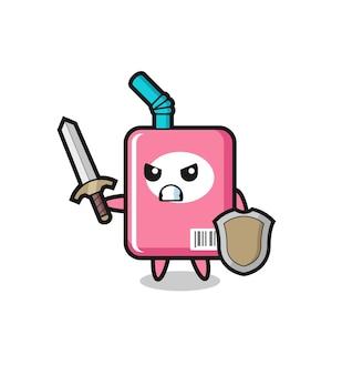 Soldado de caixa de leite fofo lutando com espada e escudo, design de estilo fofo para camiseta, adesivo, elemento de logotipo