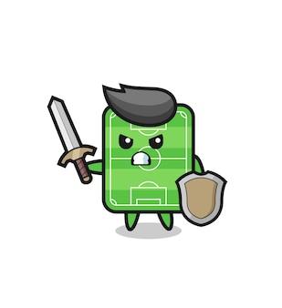 Soldado de campo de futebol fofo lutando com espada e escudo, design de estilo fofo para camiseta, adesivo, elemento de logotipo