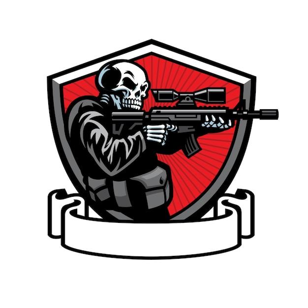 Soldado de caveira pronto para atirar