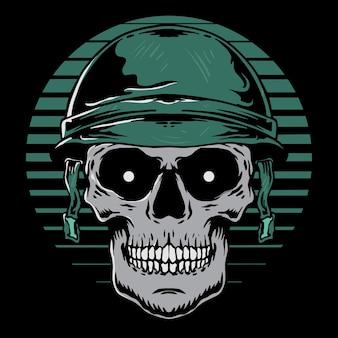 Soldado de caveira vetorial com capacete