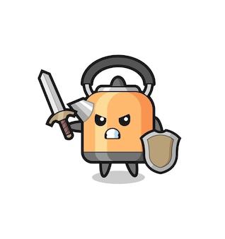 Soldado de chaleira fofo lutando com espada e escudo, design de estilo fofo para camiseta, adesivo, elemento de logotipo