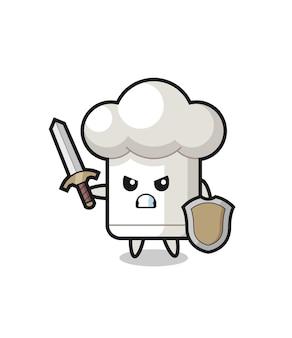 Soldado de chapéu de chef fofo lutando com espada e escudo, design de estilo fofo para camiseta, adesivo, elemento de logotipo