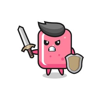 Soldado de chiclete fofo lutando com espada e escudo, design de estilo fofo para camiseta, adesivo, elemento de logotipo