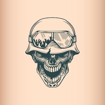 Soldado de crânio vintage no leme