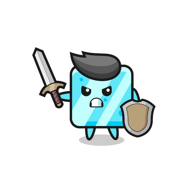 Soldado de cubo de gelo fofo lutando com espada e escudo, design de estilo fofo para camiseta, adesivo, elemento de logotipo