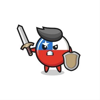 Soldado de distintivo de bandeira chile fofo lutando com espada e escudo, design de estilo fofo para camiseta, adesivo, elemento de logotipo