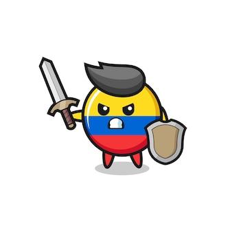 Soldado de distintivo de bandeira da colômbia fofo lutando com espada e escudo, design de estilo fofo para camiseta, adesivo, elemento de logotipo