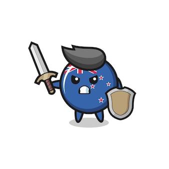 Soldado de distintivo de bandeira de nova zelândia fofo lutando com espada e escudo, design de estilo fofo para camiseta, adesivo, elemento de logotipo