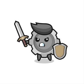 Soldado de equipamento fofo lutando com espada e escudo, design de estilo fofo para camiseta, adesivo, elemento de logotipo