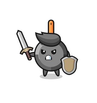 Soldado de frigideira fofo lutando com espada e escudo, design de estilo fofo para camiseta, adesivo, elemento de logotipo