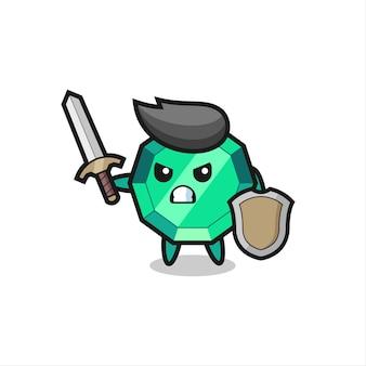 Soldado de gema esmeralda fofo lutando com espada e escudo, design de estilo fofo para camiseta, adesivo, elemento de logotipo