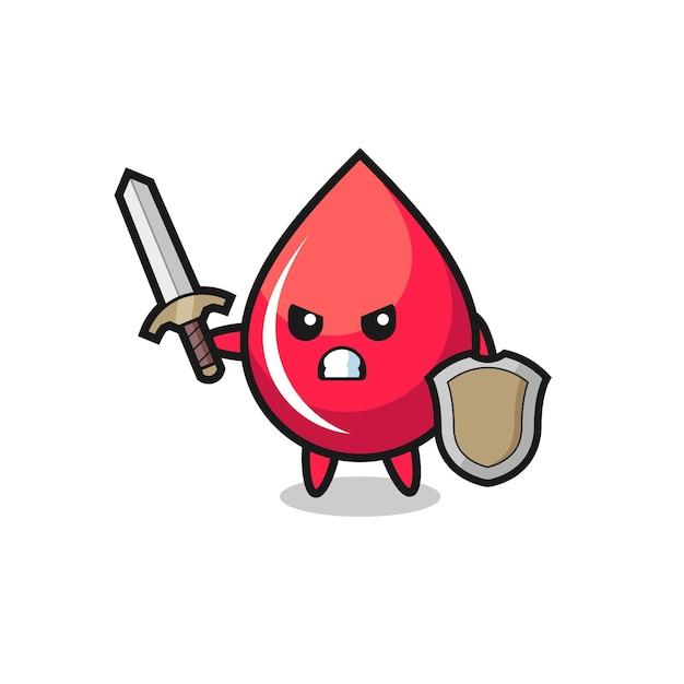 Soldado de gota de sangue fofo lutando com espada e escudo, design de estilo fofo para camiseta, adesivo, elemento de logotipo