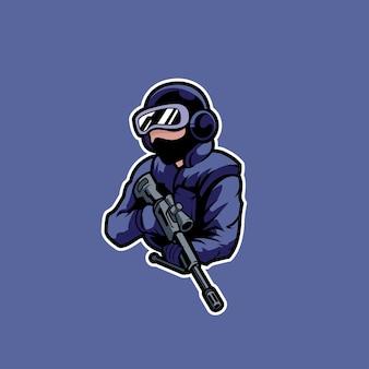 Soldado de jogo de crachá de alvo atirador