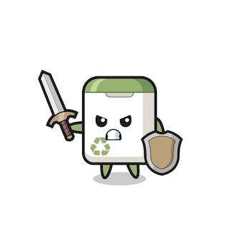 Soldado de lata de lixo fofo lutando com espada e escudo, design de estilo fofo para camiseta, adesivo, elemento de logotipo