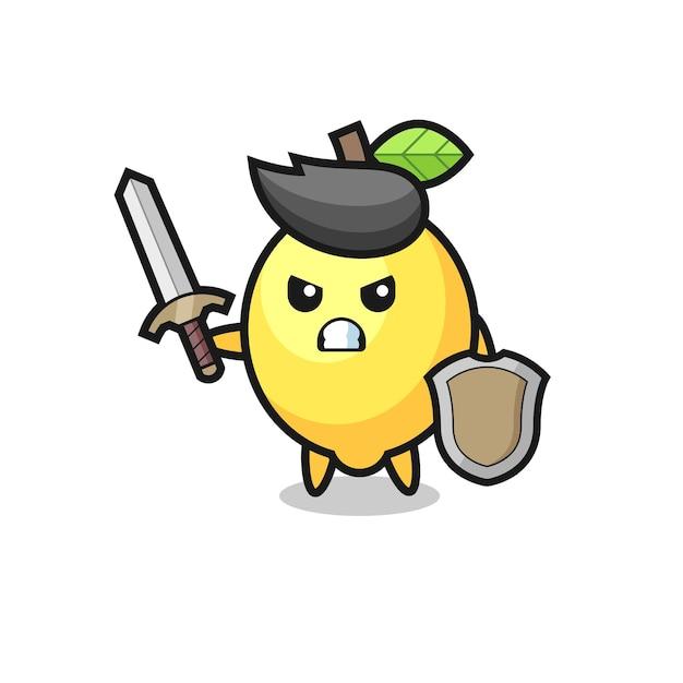 Soldado de limão fofo lutando com espada e escudo, design de estilo fofo para camiseta, adesivo, elemento de logotipo