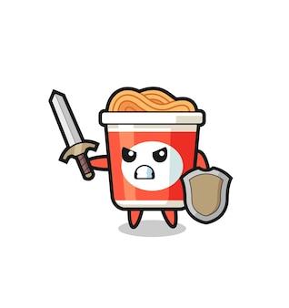 Soldado de macarrão instantâneo fofo lutando com espada e escudo, design de estilo fofo para camiseta, adesivo, elemento de logotipo