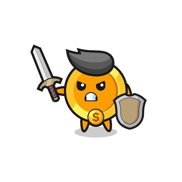 Soldado de moeda de dólar fofo lutando com espada e escudo, design de estilo fofo para camiseta, adesivo, elemento de logotipo