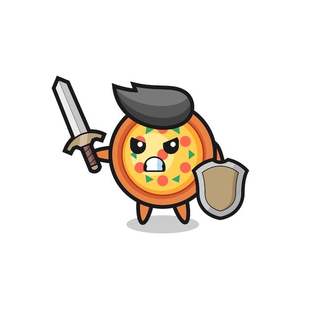 Soldado de pizza fofo lutando com espada e escudo, design de estilo fofo para camiseta, adesivo, elemento de logotipo