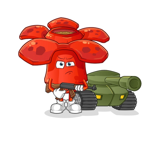 Soldado de rafflesia com mascote dos desenhos animados do tanque. mascote mascote dos desenhos animados