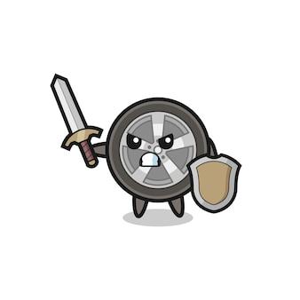 Soldado de roda de carro fofo lutando com espada e escudo, design de estilo fofo para camiseta, adesivo, elemento de logotipo