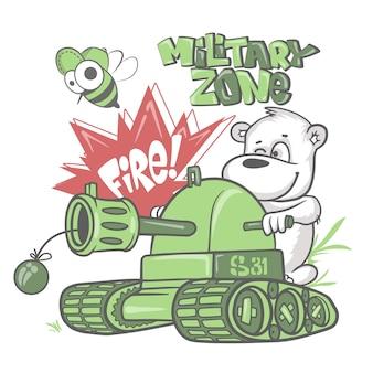 Soldado de urso em um tanque, impressão de camisa infantil.