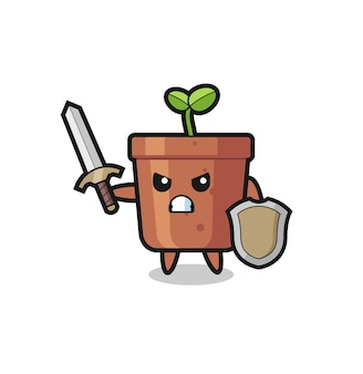 Soldado de vaso fofo lutando com espada e escudo, design de estilo fofo para camiseta, adesivo, elemento de logotipo