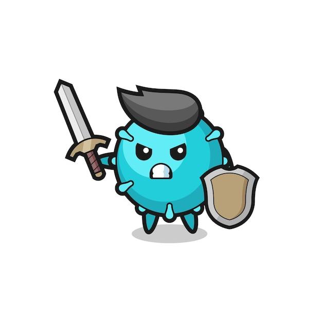 Soldado de vírus fofo lutando com espada e escudo, design de estilo fofo para camiseta, adesivo, elemento de logotipo