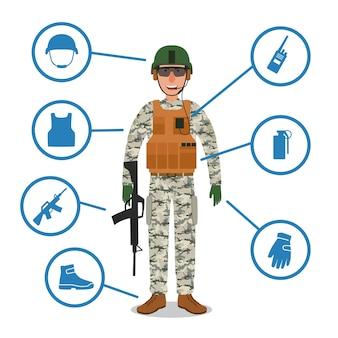 Soldado do exército com equipamento militar. capacete, rádio, arma, granada, colete kevlar à prova de balas