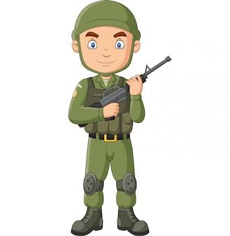 Soldado dos desenhos animados com uma espingarda