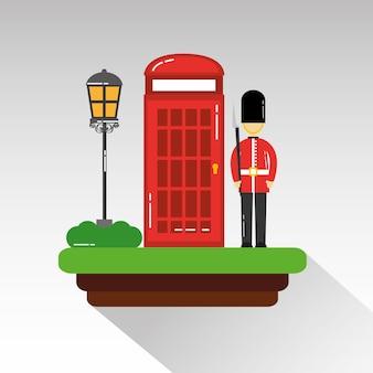 Soldado dos desenhos animados da guarda, telefone da cabine real e lâmpada de rua