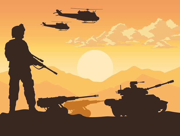Soldado e equipamento de guerra