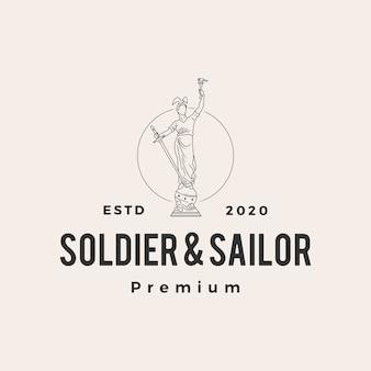 Soldado e marinheiro estátua hipster logotipo vintage icon ilustração