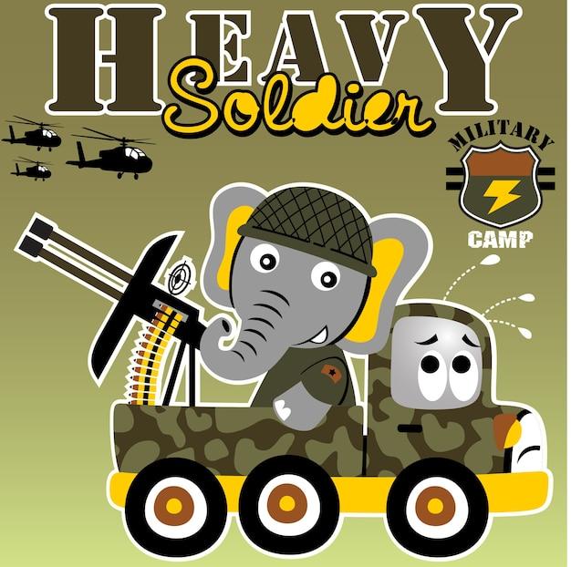 Soldado engraçado em caminhão militar com arma pesada