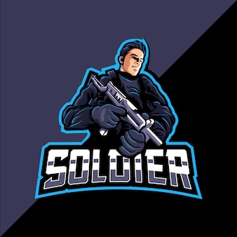Soldado mascote esports logo gaming