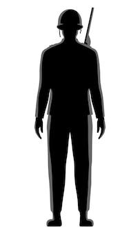 Soldado masculino em ilustração de silhueta de vetor uniforme vintage isolada