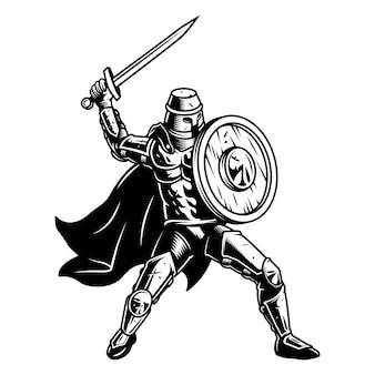 Soldado medival com escudo