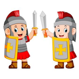 Soldado romano com espada de pé