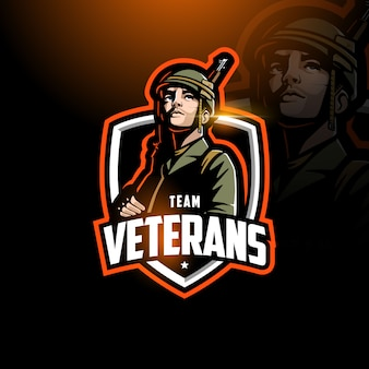 Soldado segurando rifle esport logotipo jogos
